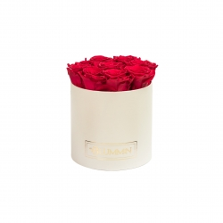 MEDIUM CREAMY WHITE BOX WITH ROSEBERRY ROSES