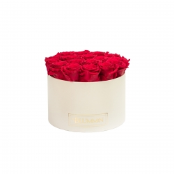LARGE CREAMY WHITE BOX WITH ROSEBERRY ROSES