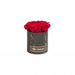 MIDI BLUMMIN - BLACK MARBLE BOX WITH ROSEBERRY ROSES