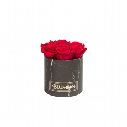 SMALL BLACK MARBLE BOX WITH ROSEBERRY ROSES