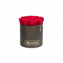 MEDIUM BLACK MARBLE BOX WITH ROSEBERRY ROSES