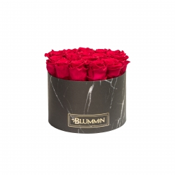 LARGE BLACK MARBLE BOX WITH ROSEBERRY ROSES