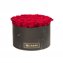 EXTRA LARGE BLACK MARBLE BOX WITH ROSEBERRY ROSES