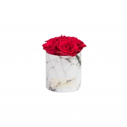 MIDI BLUMMIN - WHITE MARBLE BOX WITH ROSEBERRY ROSES