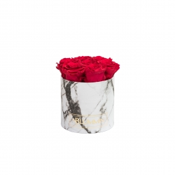 SMALL WHITE MARBLE BOX WITH ROSEBERRY ROSES