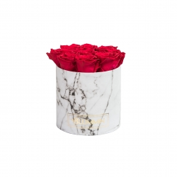 MEDIUM WHITE MARBLE BOX WITH ROSEBERRY ROSES