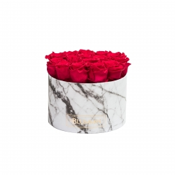 LARGE WHITE MARBLE BOX WITH ROSEBEERY ROSES