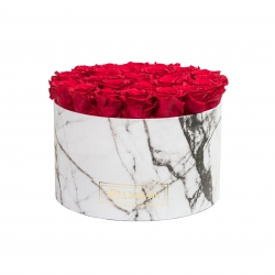 EXTRA LARGE WHITE MARBLE BOX WITH ROSEBERRY ROSES