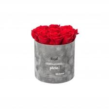 """MEDIUM """"ILUSAT VANAVANEMATE PÄEVA"""" - helehall sametkarp VIBRANT RED roosidega"""