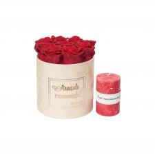 """KOMPLEKT """"ARMSALE VANAEMALE!"""" - Medium nude sametkarp Roseberry roosidega ja punase küünlaga"""