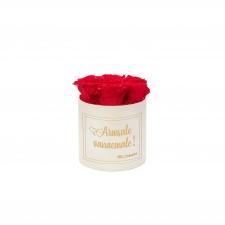 """SMALL """"ARMSALE VANAEMALE"""" - kreemikasvalge karp VIBRANT RED roosidega"""