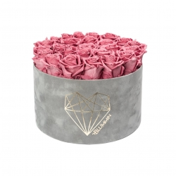 EXTRA LARGE LOVE LIGHT GREY VELVET BOX WITH VINTAGE PINK ROSES
