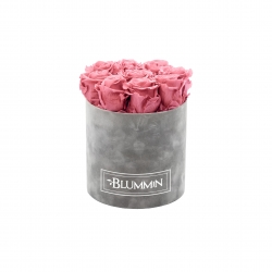 MEDIUM BLUMMIN LIGHT GREY VELVET BOX WITH vintage PINK ROSES