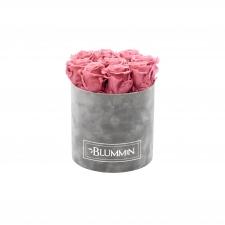 MEDIUM VELVET LIGHT GREY BOX WITH VINTAGE PINK ROSES