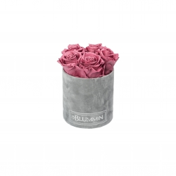 MIDI BLUMMiN LIGHT GREY VELVET BOX VINTAGE PINK ROSES
