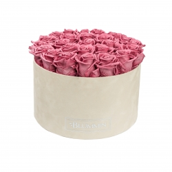 XL BLUMMiN - NUDE VELVET BOX WITH VINTAGE PINK ROSES