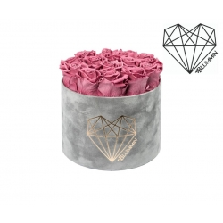 LARGE LOVE - LIGHT GREY VELVET BOX WITH VINTAGE PINK ROSES