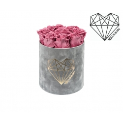 MEDIUM LOVE - LIGHT GREY VELVET BOX WITH VINTAGE PINK ROSES