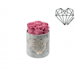 SMALL LOVE - LIGHT GREY VELVET BOX WITH VINTAGE PINK ROSES