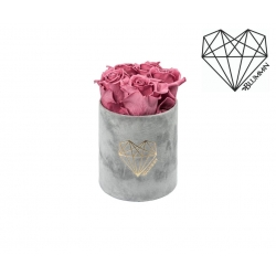 MIDI LOVE - LIGHT GREY VELVET BOX WITH VINTAGE PINK ROSES