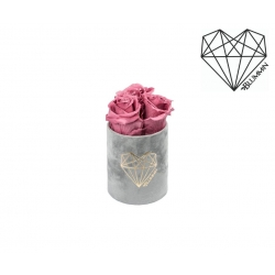 XS LOVE - LIGHT GREY VELVET BOX WITH VINTAGE PINK ROSES