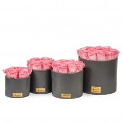 DARK GREY CERAMIC POT WITH CANDY PINK ROSES