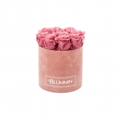 MEDIUM VELVET DUSTY PINK BOX WITH VINTAGE PINK ROSES