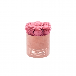 SMALL BLUMMIN OLD PINK VELVET BOX WITH VINTAGE PINK ROSES