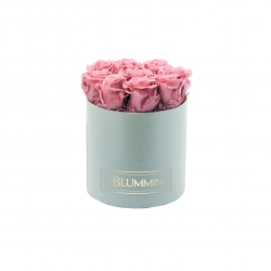 MEDIUM VELVET LIGHT GREY BOX WITH VINATGE PINK ROSES