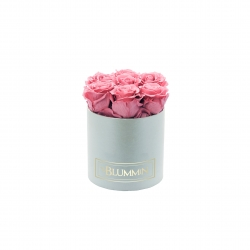 SMALL CLASSIC LIGHT GREY BOX WITH VINTAGE PINK ROSES
