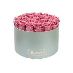 EXTRA LARGE LIGHT GREY BOX WITH VINTAGE PINK ROSES