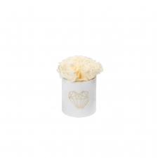 LOVE XS BLUMMIN WHITE VELVET BOX WITH CHAMPAGNE ROSES