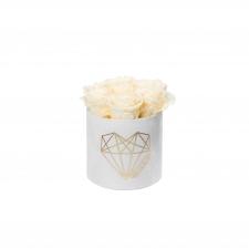 LOVE SMALL WHITE VELVET BOX WITH CHAMPAGNE ROSES