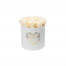LOVE MEDIUM WHITE VELVET BOX WITH CHAMPAGNE ROSES