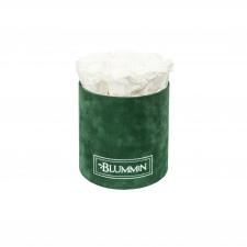 MEDIUM GREEN VELVET BOX WITH WHITE ROSES