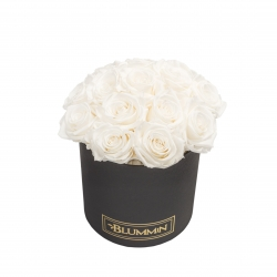 BOUQUET WITH 15 ROSES - MEDIUM BLACK BOX WITH WHITE ROSES