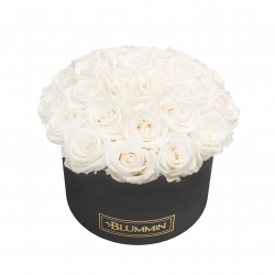 BOUQUET WITH 25 ROSES - LARGE BLACK BOX WITH WHITE ROSES