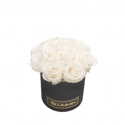 BOUQUET WITH 11 ROSES - SMALL BLACK BOX WITH WHITE ROSES