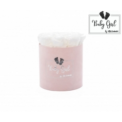 BABY GIRL - LIGHT PINK VELVET BOX WITH 9 WHITE ROSES