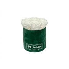 SMALL GREEN VELVET BOX WITH WHITE ROSES