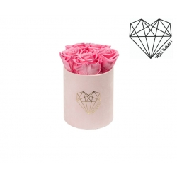 MIDI LOVE - LIGHT PINK VELVET BOX WITH BABY PINK ROSES