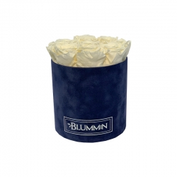 MEDIUM DARK BLUE VELVET BOX WITH CHAMPAGNE ROSES