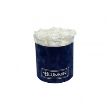 SMALL DARK BLUE VELVET BOX WITH WHITE ROSES