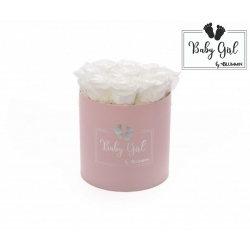 BABY GIRL - LIGHT PINK BOX WITH 9 WHITE ROSES