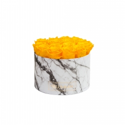 LARGE WHITE MARBLE BOX WITH YELLOW ROSES
