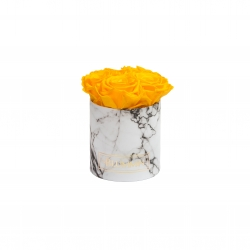 BLUMMIN MIDI WHITE MARBLE BOX WITH 5 YELLOW ROSES