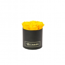 SMALL BLUMMiN - BLACK BOX WITH SUNNY YELLOW ROSES