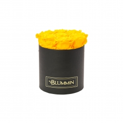 MEDIUM CLASSIC BLACK BOX WITH YELLOW ROSES
