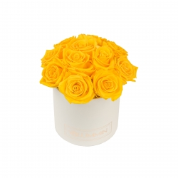 BOUQUET WITH 11 ROSES - SMALL CREAMY BOX WITH YELLOW ROSES