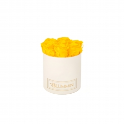 SMALL BLUMMiN - CREAM WHITE BOX WITH SUNNY YELLOW ROSES